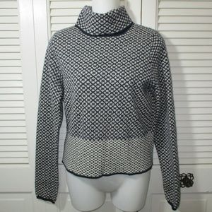 Moth (Anthro.) Blue Print Cropped Sweater M
